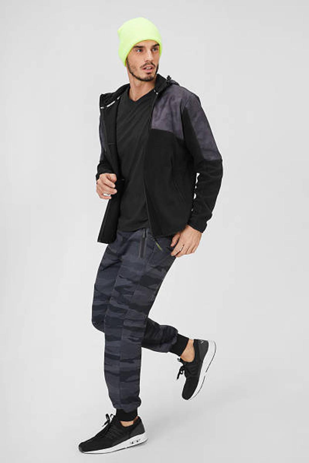 C&A Angelo Litrico slim fit joggingbroek met all over print zwart, Zwart