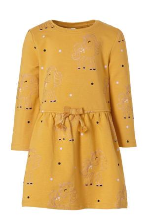 jersey jurk met biologisch katoen oker/donkerblauw