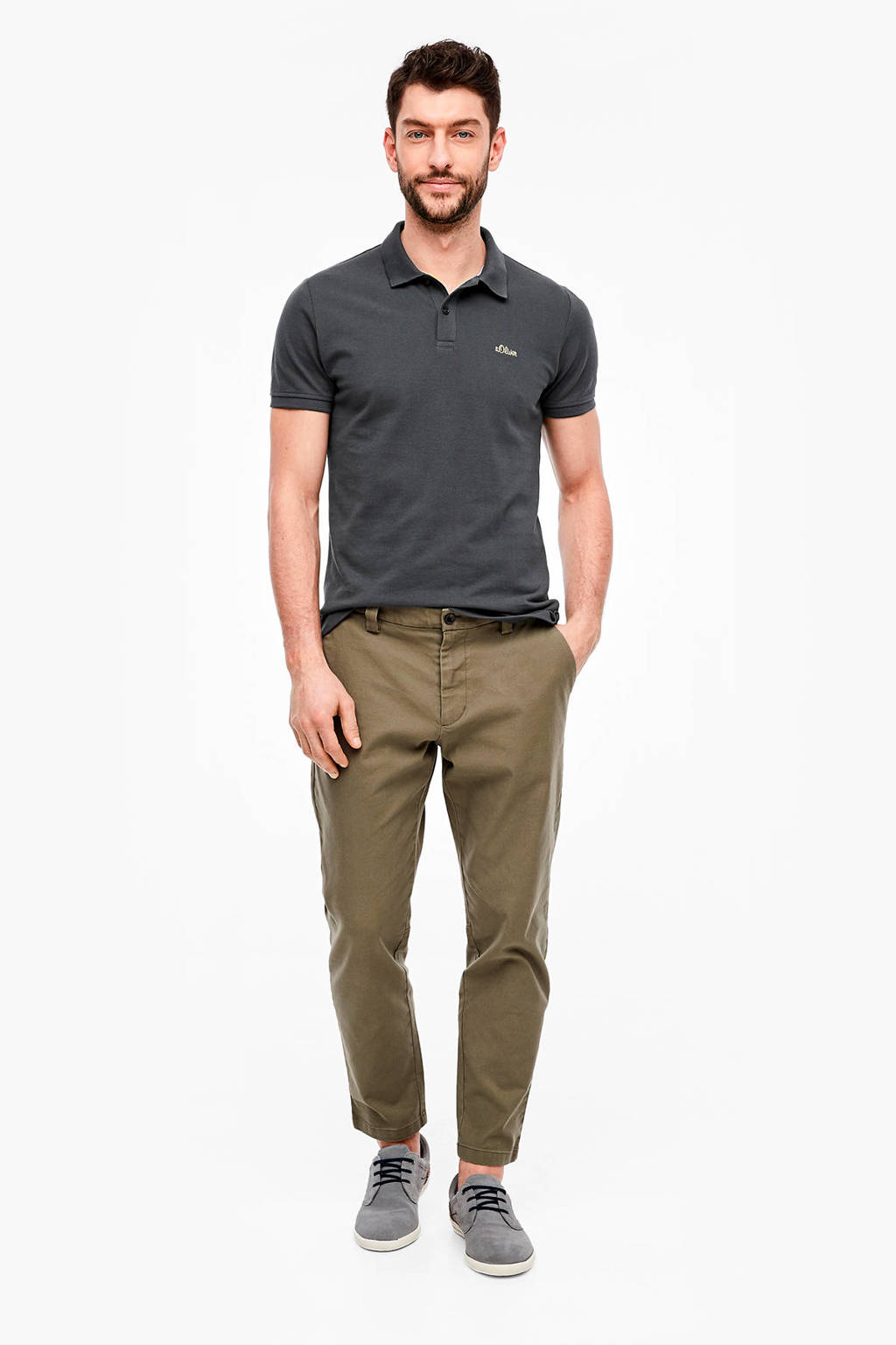 s.Oliver slim fit polo antraciet, Antraciet
