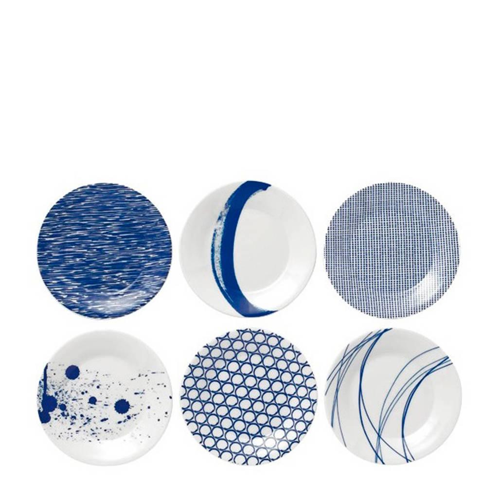 Royal Doulton gebaksbordjes Pacific (16 cm) (6 stuks), Wit,blauw