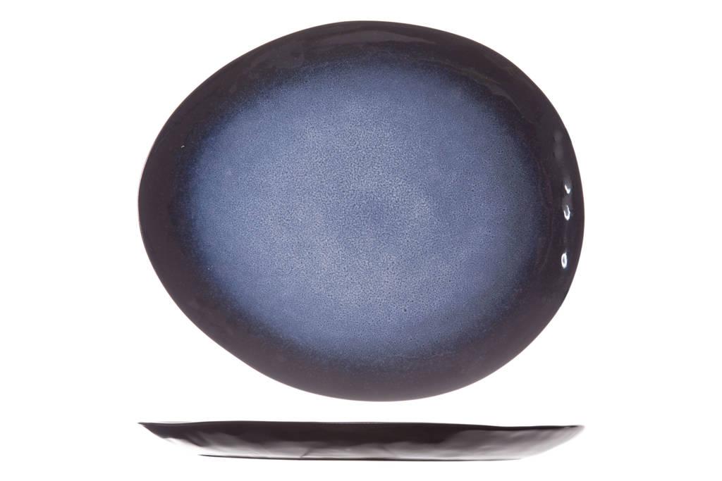 Cosy & Trendy dinerbord Sapphire (27.5x23 cm), Zwart,blauw
