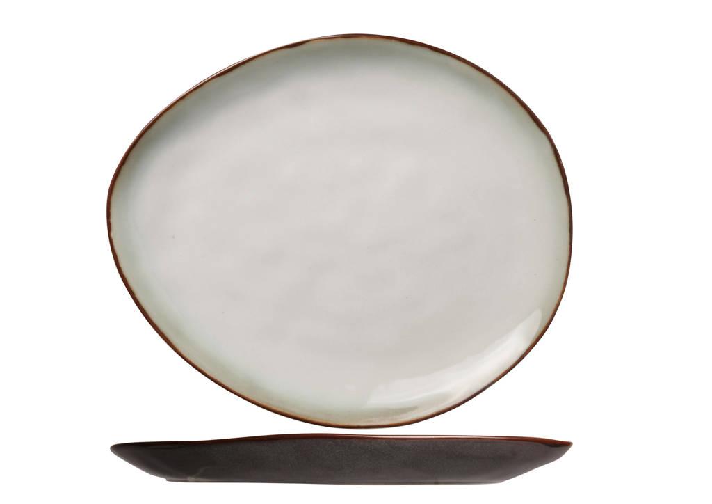 Cosy & Trendy ontbijtbord Plato (19.5x16 cm), Bruin,Wit