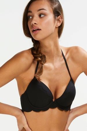 voorgevormde push-up bikinitop Scallop Goddess met schulprand zwart