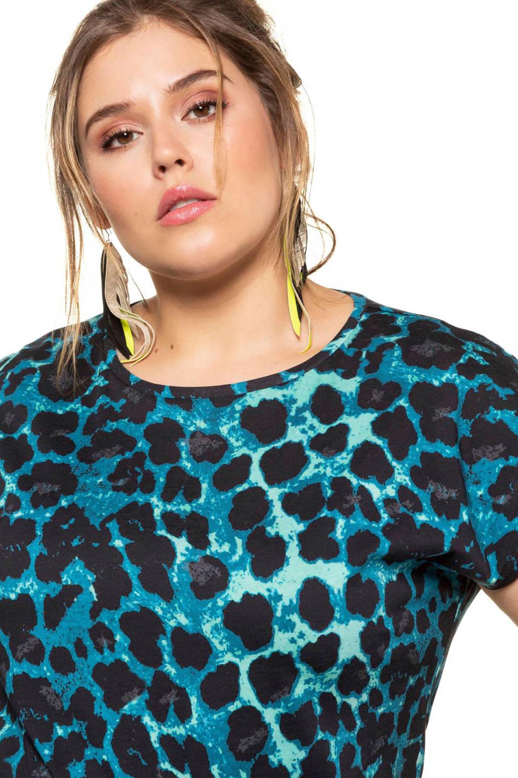 Studio Untold T-shirt met panterprint blauw/zwart, Blauw/zwart