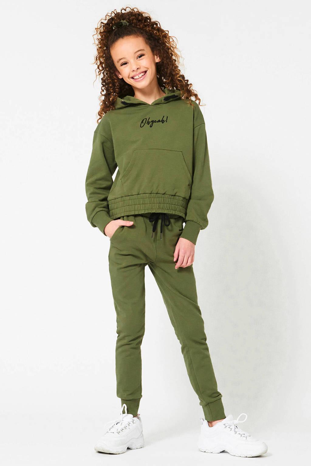 CoolCat Junior hoodie Sofie met tekst en borduursels army groen/zwart, Army groen/zwart