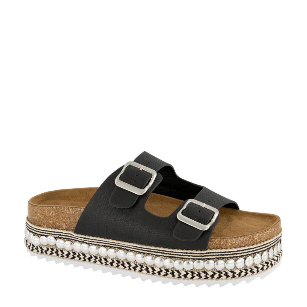 Graceland   plateau slippers zwart, Zwart