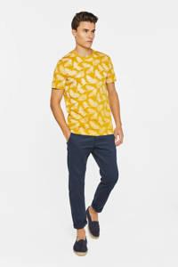 WE Fashion T-shirt met bladprint geel, Geel