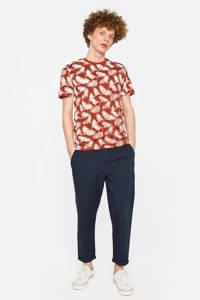 WE Fashion T-shirt met bladprint rood, Rood