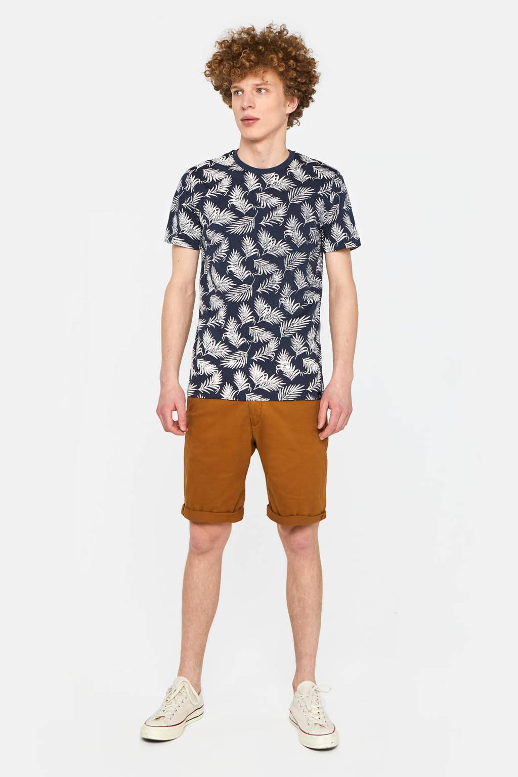WE Fashion T-shirt met bladprint donkerblauw, Donkerblauw