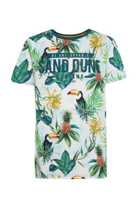 WE Fashion regular fit T-shirt met all over print wit/groen/geel