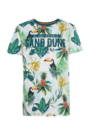 regular fit T-shirt met all over print wit/groen/geel