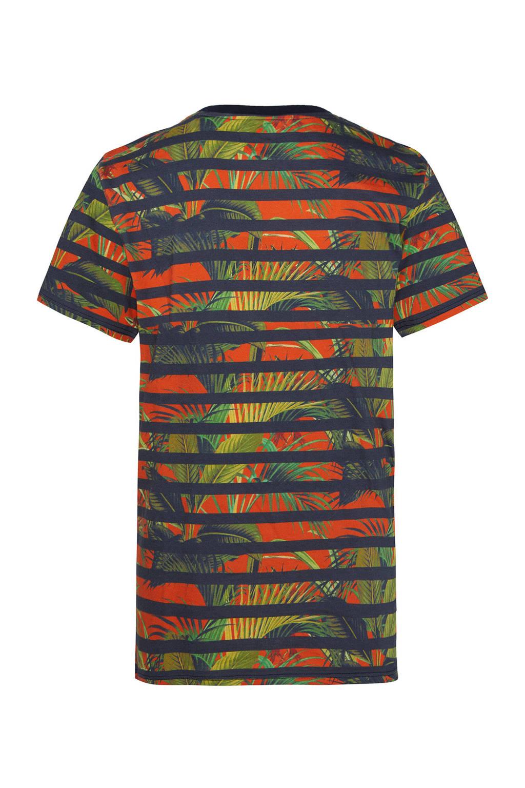 WE Fashion gestreept regular fit T-shirt donkerblauw/rood/groen, Donkerblauw/rood/groen