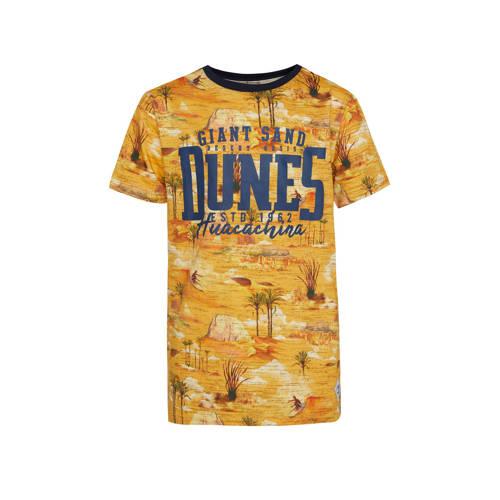 WE Fashion regular fit T-shirt met tekst geel/blau