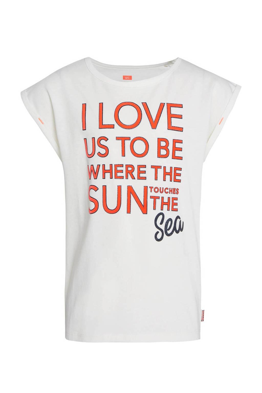 WE Fashion regular fit T-shirt met tekst wit/rood/donkerblauw