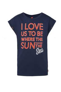WE Fashion regular fit T-shirt met tekst donkerblauw/rood/wit, Donkerblauw/rood/wit