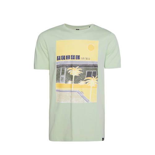 WE Fashion T-shirt met printopdruk lichtgroen/geel
