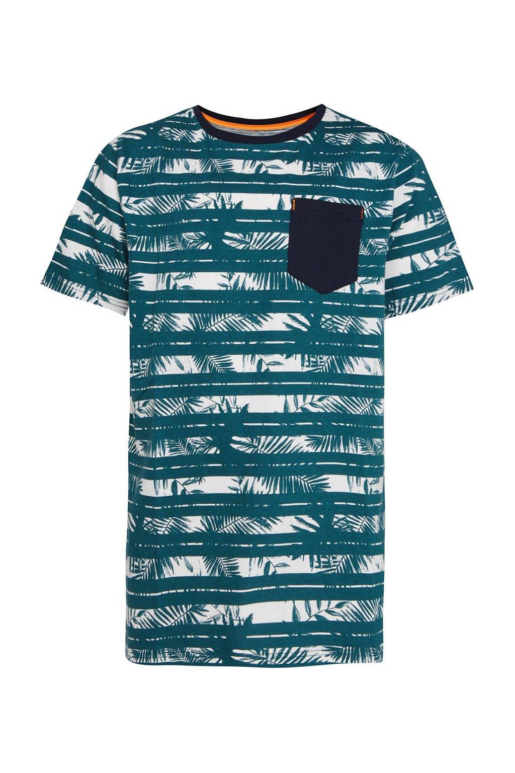 WE Fashion gestreept regular fit T-shirt groen/wit/donkerblauw, Groen/wit/donkerblauw