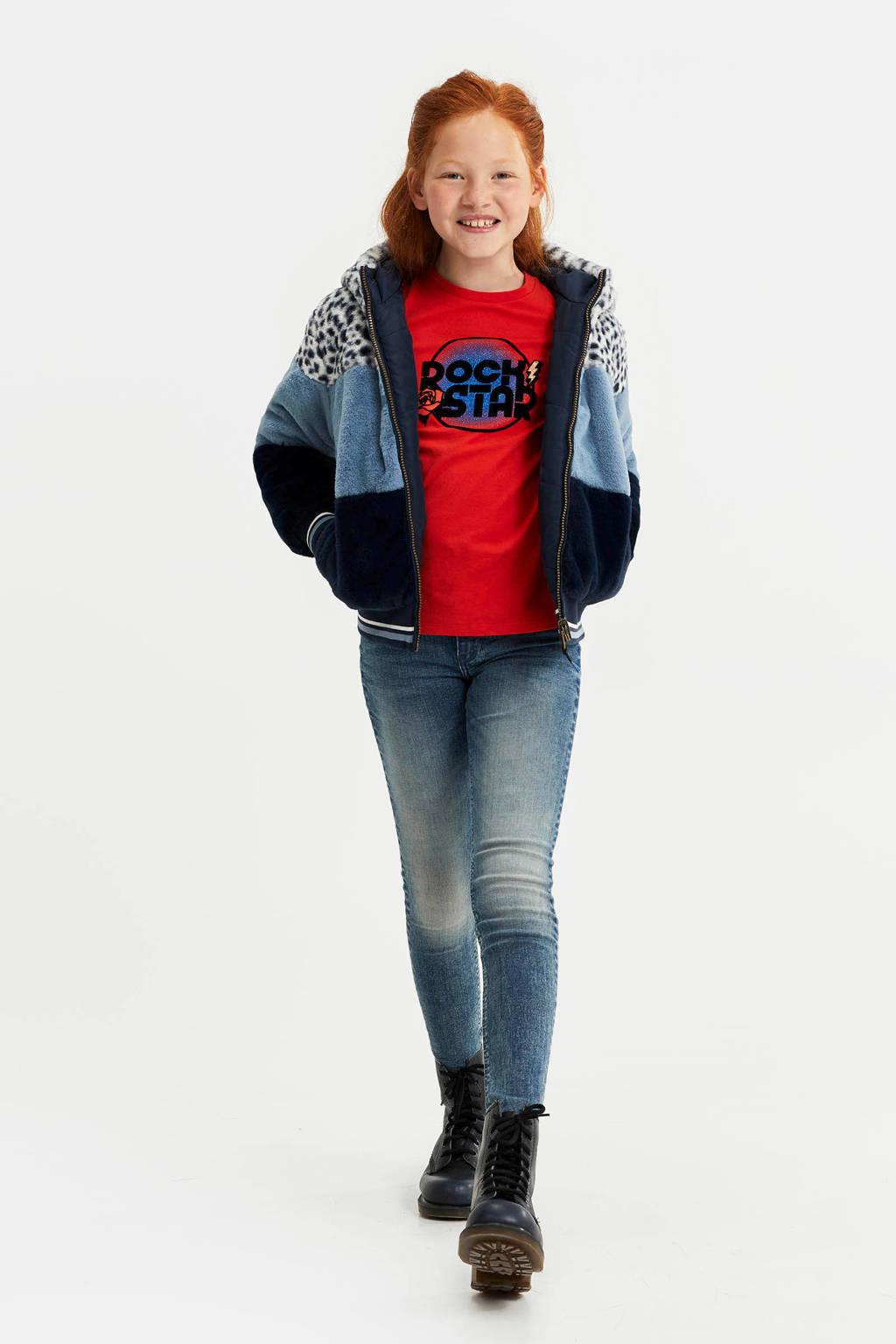 WE Fashion reversible imitatiebont winterjas lichtblauw/donkerblauw/wit, Donkerblauw/lichtblauw/wit