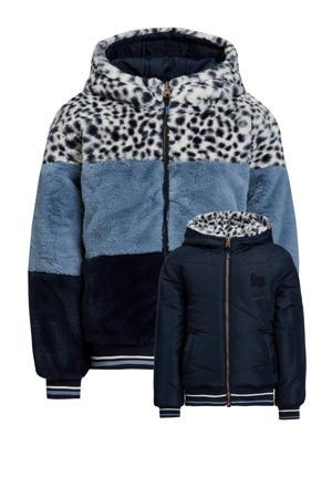 reversible imitatiebont winterjas lichtblauw/donkerblauw/wit