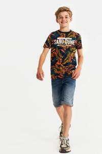 WE Fashion T-shirt met bladprint multicolor, Multicolor