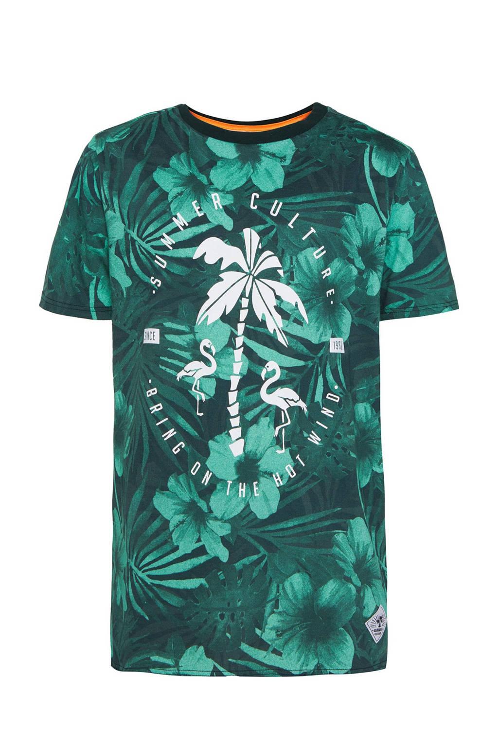 WE Fashion regular fit T-shirt met printopdruk groen/wit, Groen/wit
