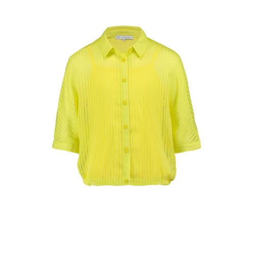 CKS KIDS gestreepte semi-transparante blouse neon