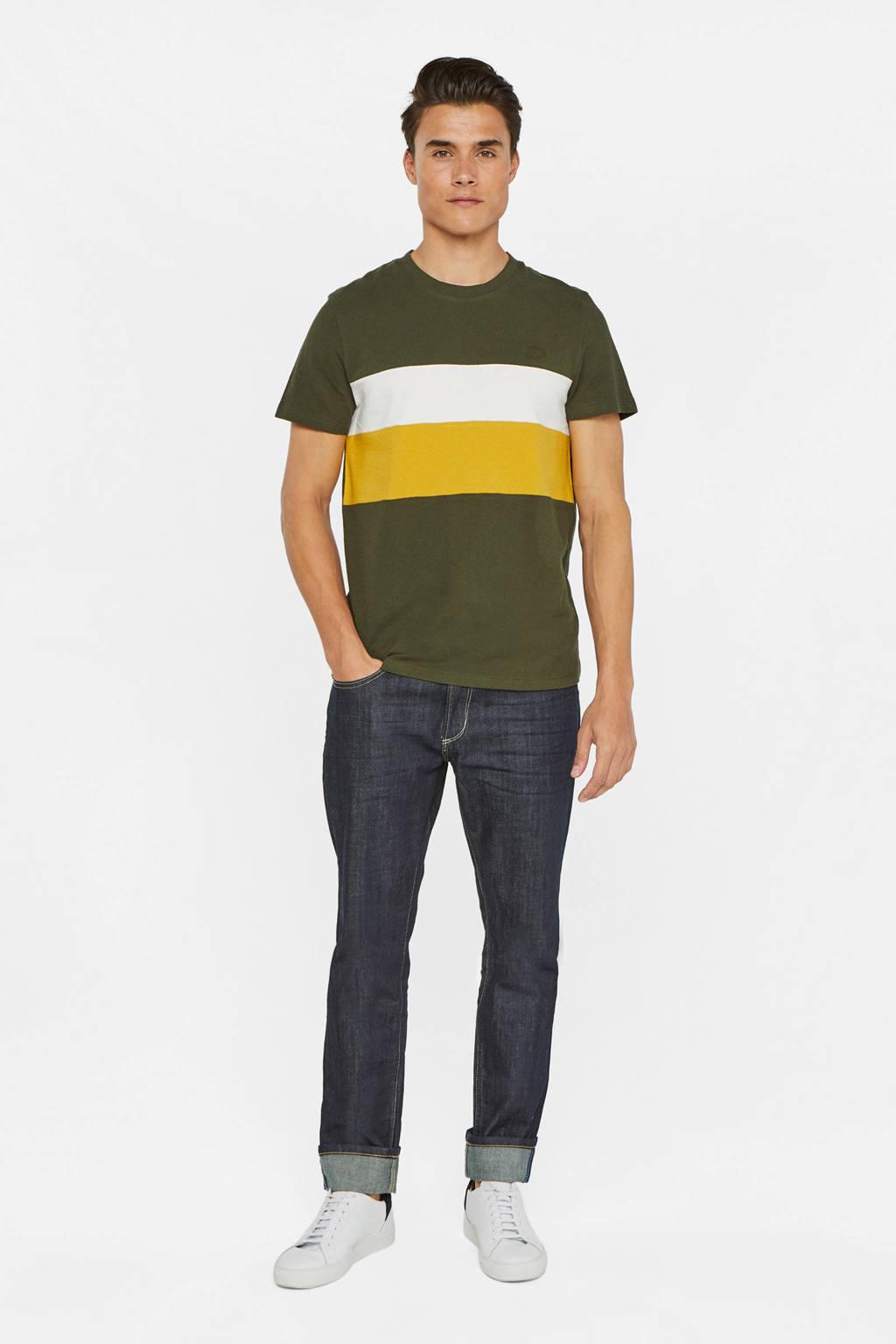 WE Fashion gestreept T-shirt groen/wit/geel, Groen/wit/geel