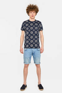 WE Fashion T-shirt met all over print donkerblauw/wit, Donkerblauw/wit