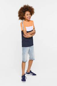WE Fashion regular fit T-shirt met contrastbies en contrastbies donkerblauw/wit/oranje, Donkerblauw/wit/oranje