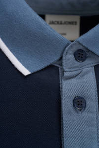 JACK & JONES PLUS SIZE regular fit polo met logo donkerblauw/grijs/wit, Donkerblauw/grijs/wit
