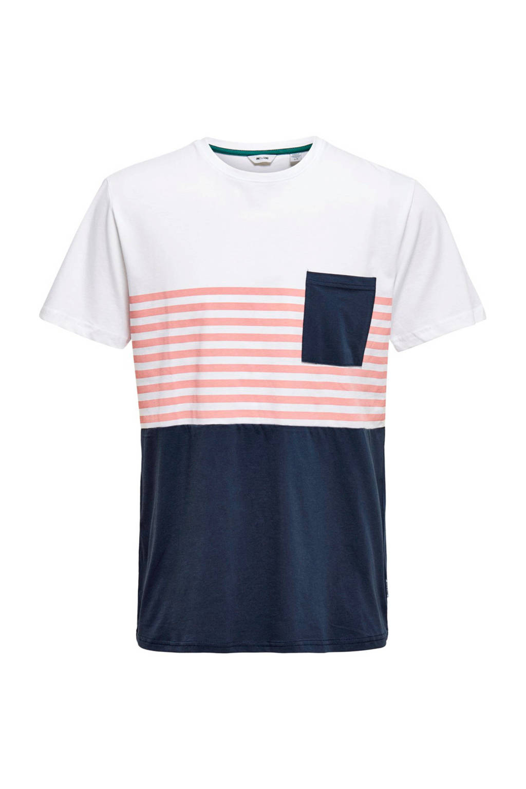ONLY & SONS T-shirt met strepen donkerblauw/wit/roze, Donkerblauw/wit/roze