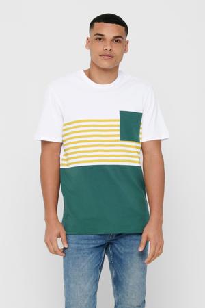 T-shirt met strepen groen/wit/geel