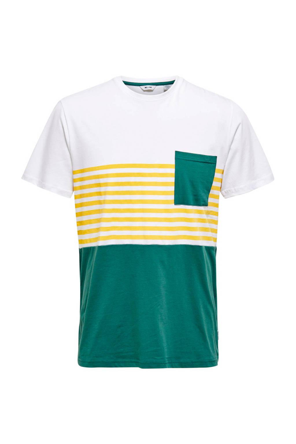 ONLY & SONS T-shirt met strepen groen/wit/geel, Groen/wit/geel