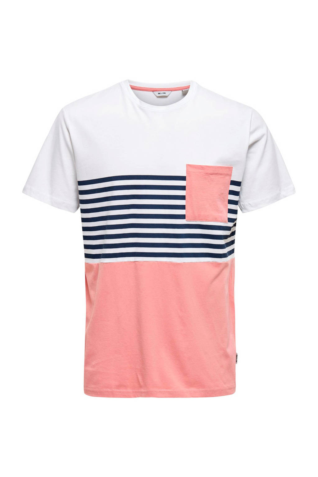 ONLY & SONS gestreept T-shirt rozw, Roze