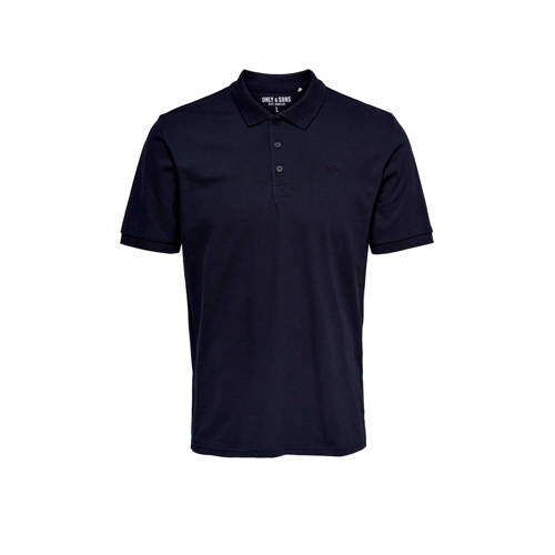 ONLY & SONS regular fit polo donkerblauw