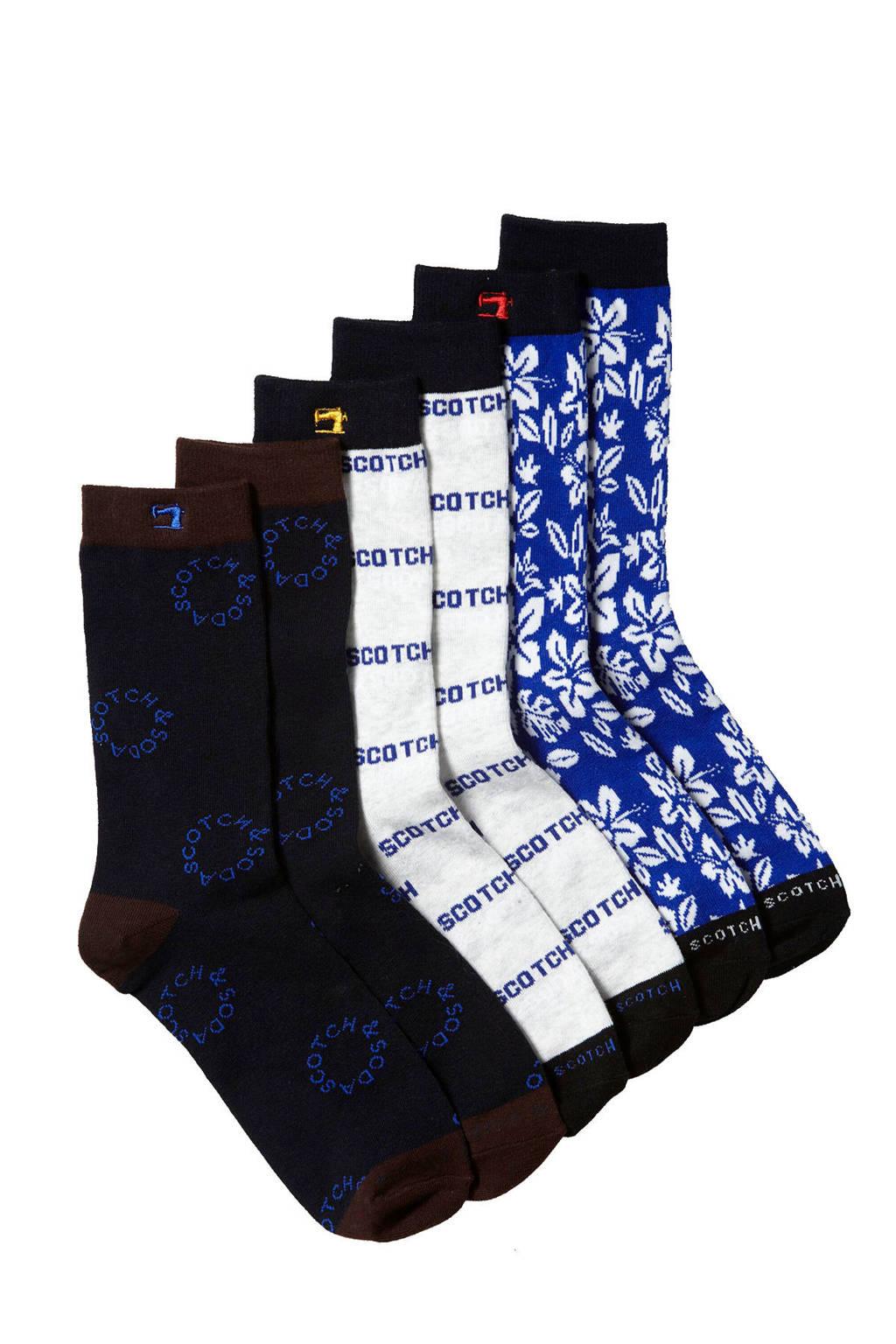 Scotch & Soda sokken set van 3 paar marine, Blauw