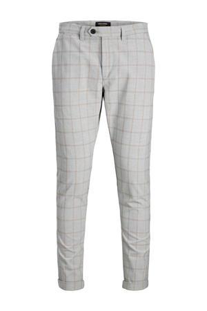 geruite tapered fit pantalon grijs