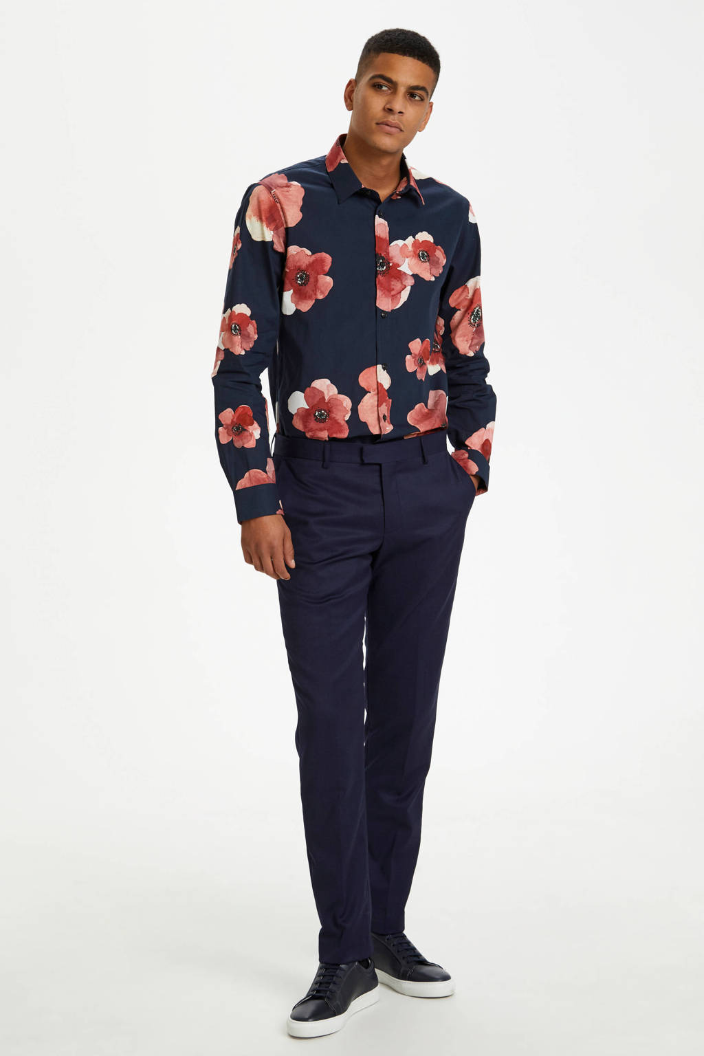 Matinique slim fit overhemd met all over print donkerblauw, Donkerblauw