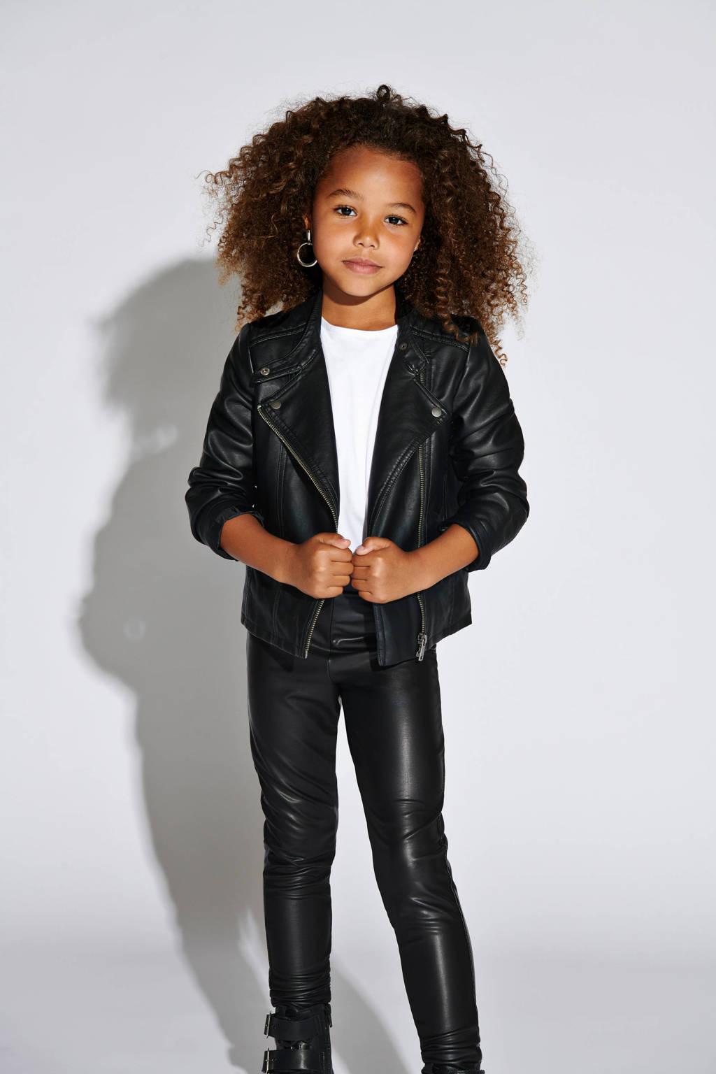 KIDS ONLY imitatieleren jas Freya zwart, Zwart