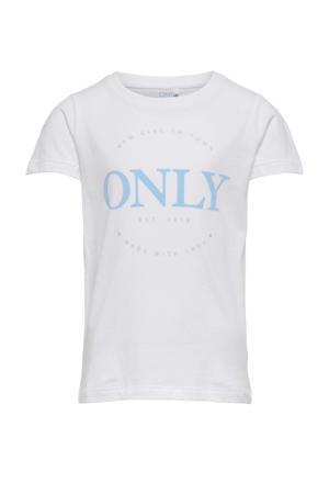 T-shirt Logo met tekst ecru/lichtblauw