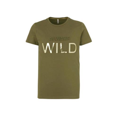 KIDS ONLY T-shirt Suvi met tekst olijfgroen/goud
