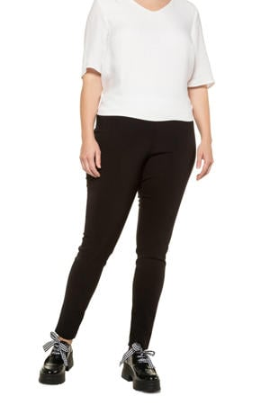 high waist slim fit broek broek zwart