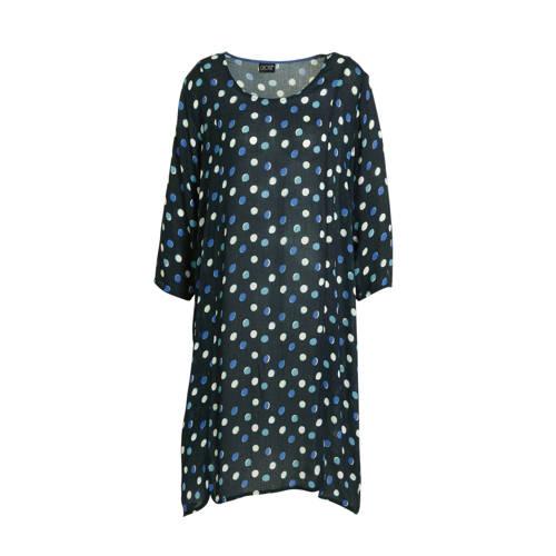 CHOISE jurk met stippen donkerblauw/wit