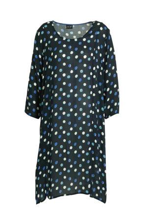 jurk met stippen donkerblauw/wit