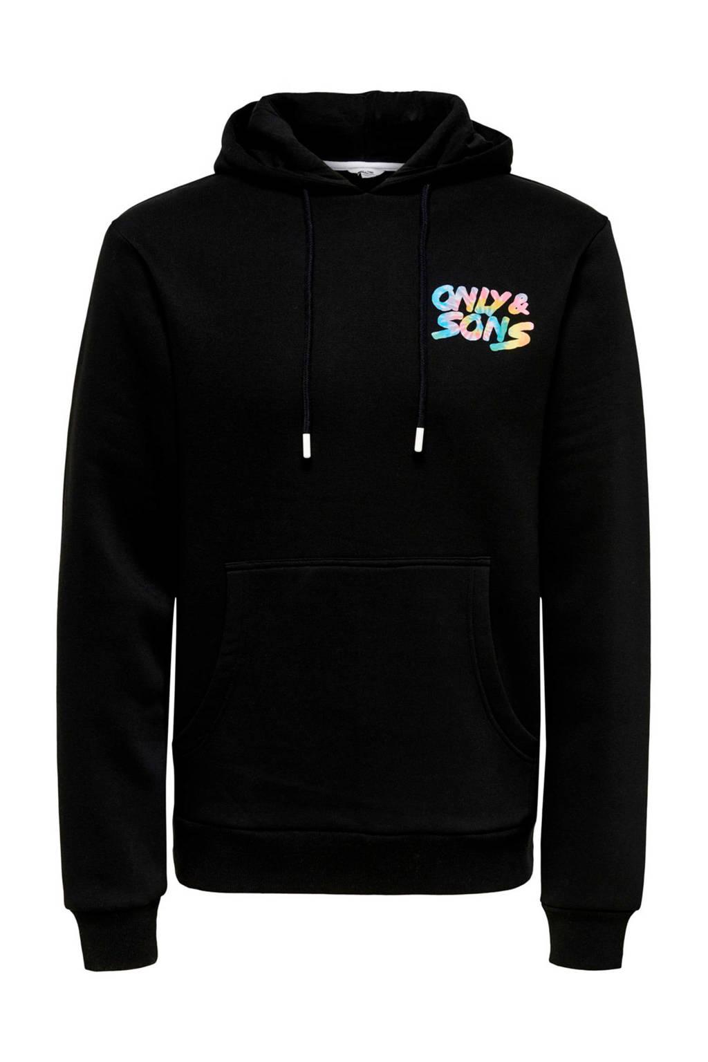 ONLY & SONS hoodie met logo zwart, Zwart