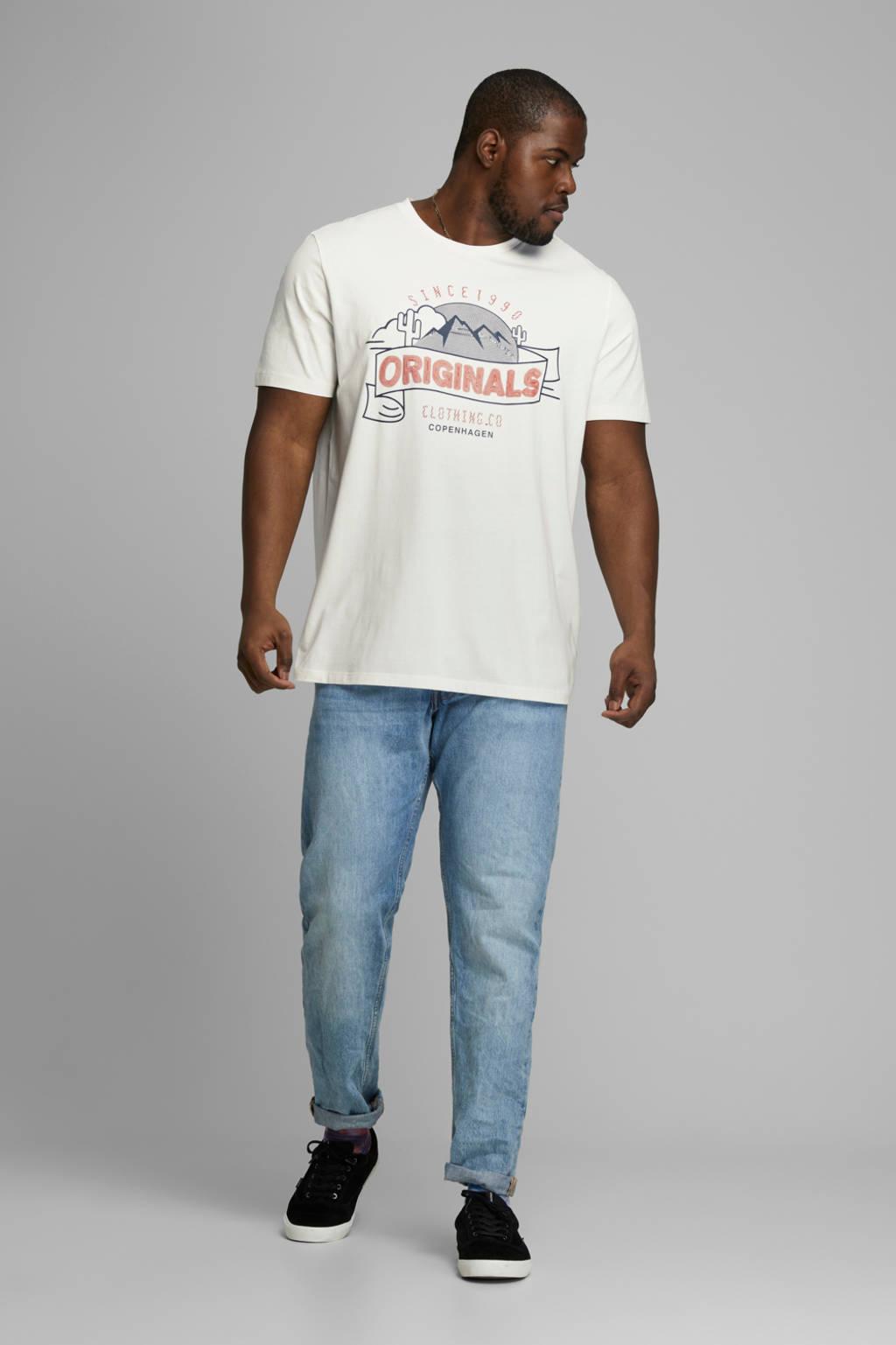 JACK & JONES PLUS SIZE T-shirt met printopdruk wit, Wit