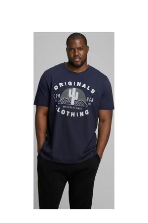 T-shirt met printopdruk donkerblauw
