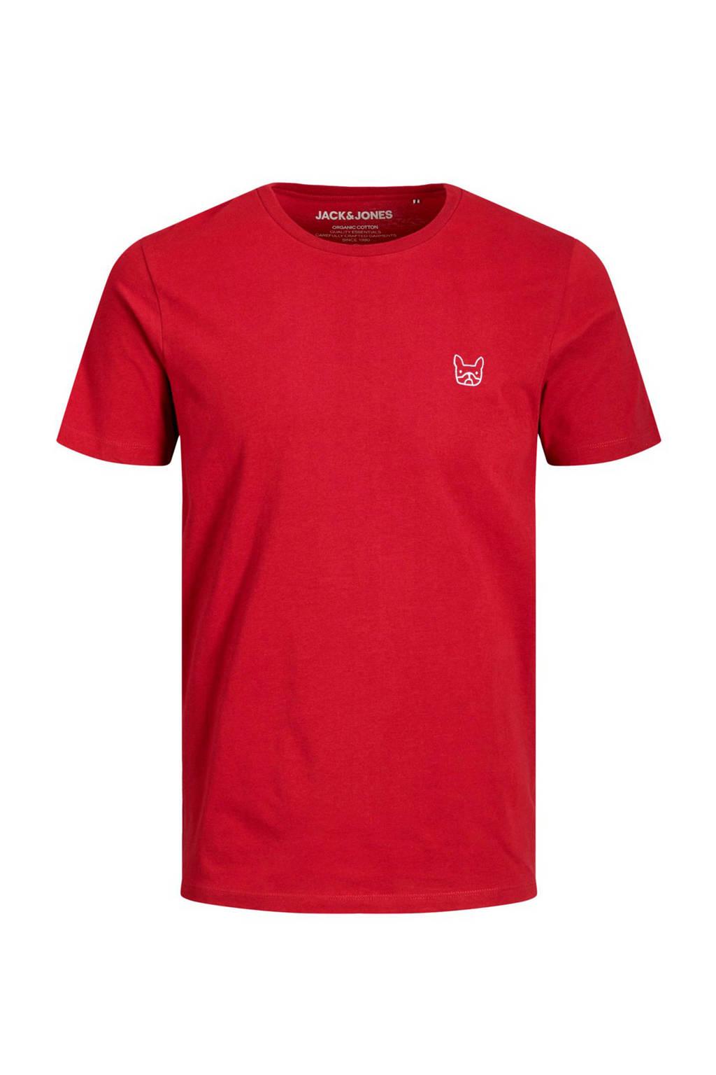 JACK & JONES ESSENTIALS T-shirt met logo rood, Rood