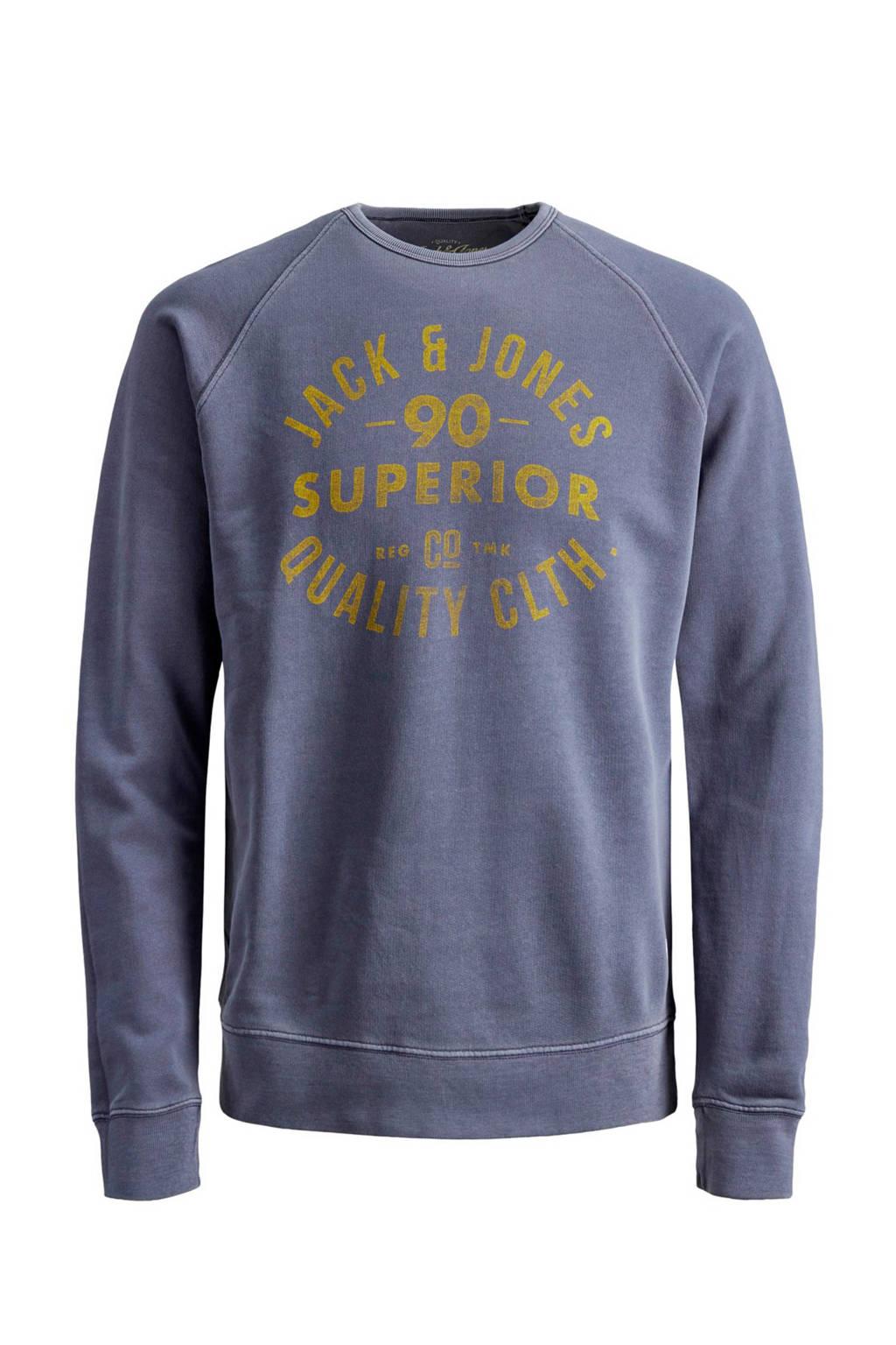 JACK & JONES ESSENTIALS sweater met logo donkerblauw, Donkerblauw