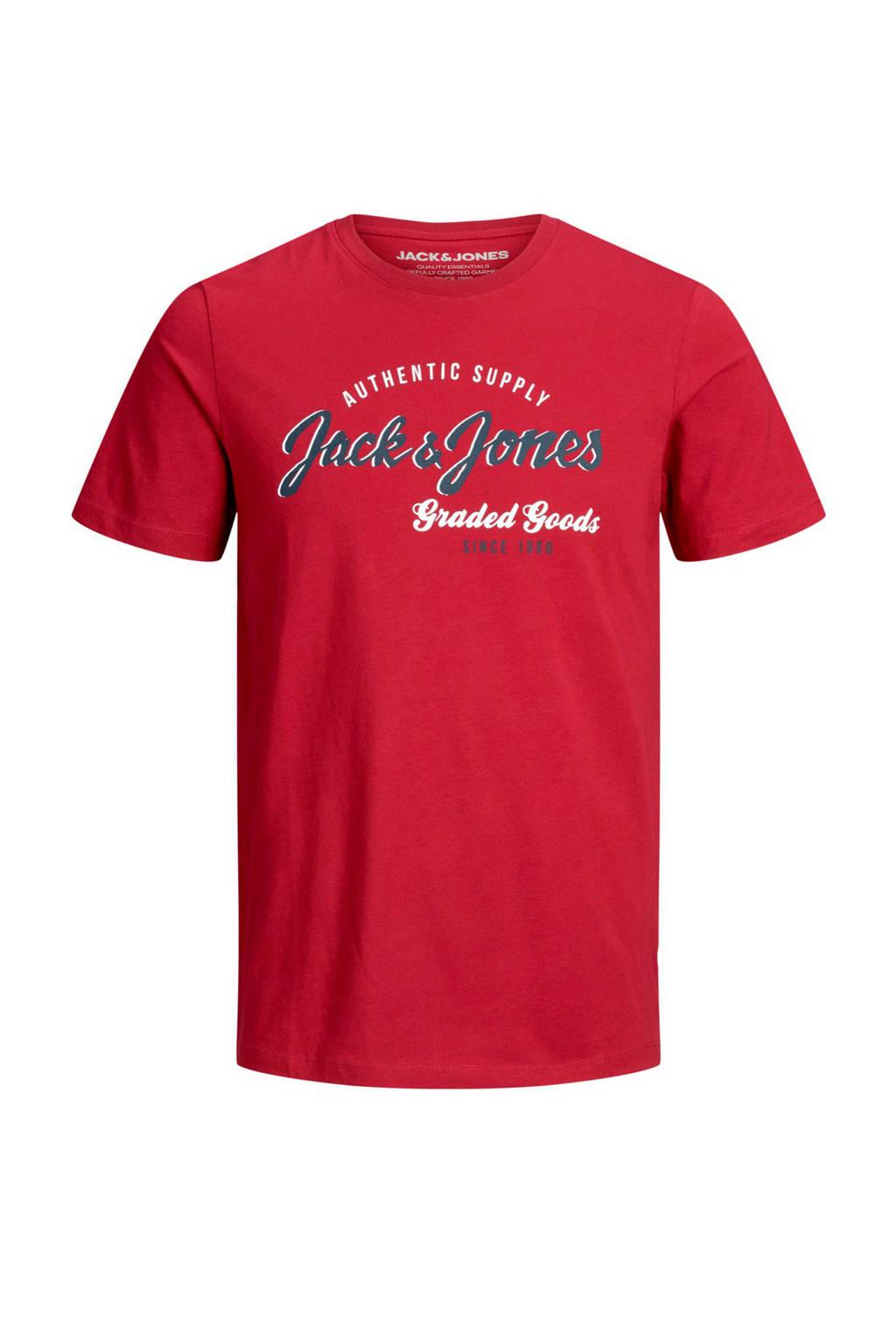JACK & JONES ESSENTIALS T-shirt met printopdruk rood, Rood